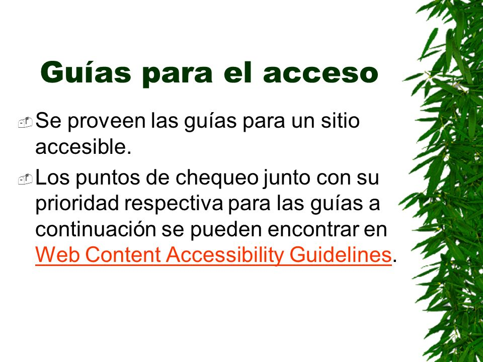 Guías para el acceso Se proveen las guías para un sitio accesible. Los puntos de chequeo junto con su prioridad respectiva para las guías a continuaci