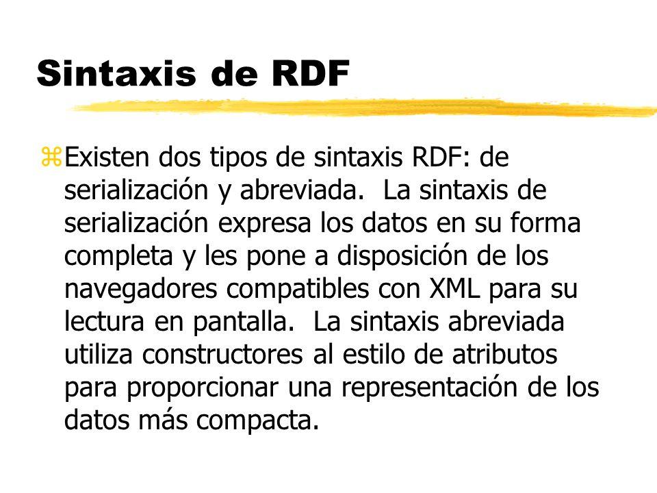 Sintaxis de RDF zExisten dos tipos de sintaxis RDF: de serialización y abreviada. La sintaxis de serialización expresa los datos en su forma completa