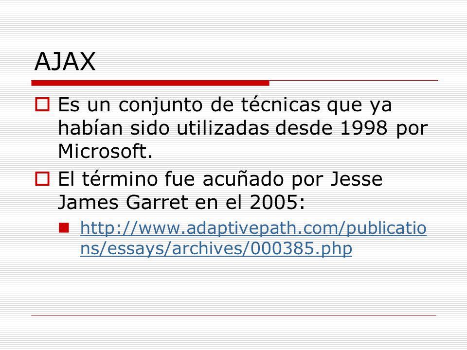 AJAX Es un conjunto de técnicas que ya habían sido utilizadas desde 1998 por Microsoft. El término fue acuñado por Jesse James Garret en el 2005: http