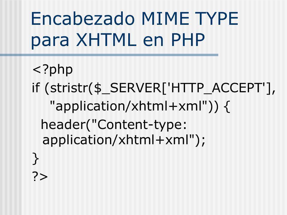 Encabezado MIME TYPE para XHTML en PHP < php if (stristr($_SERVER[ HTTP_ACCEPT ], application/xhtml+xml )) { header( Content-type: application/xhtml+xml ); } >