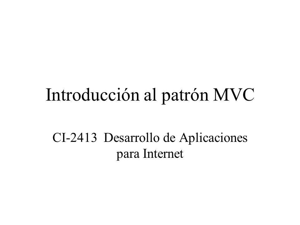 Introducción al patrón MVC CI-2413 Desarrollo de Aplicaciones para Internet