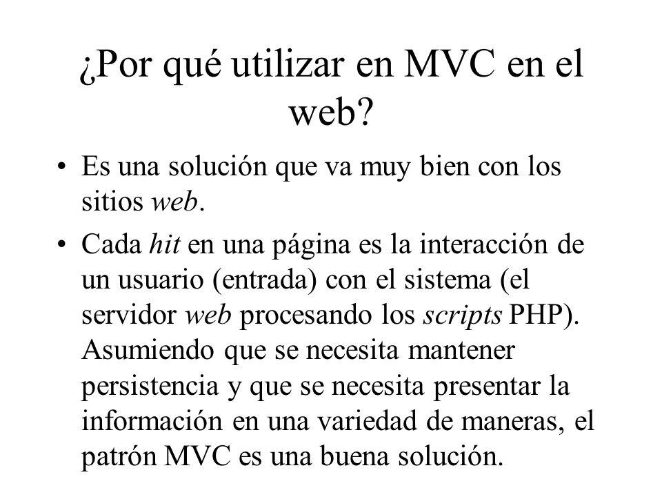 ¿Por qué utilizar en MVC en el web? Es una solución que va muy bien con los sitios web. Cada hit en una página es la interacción de un usuario (entrad