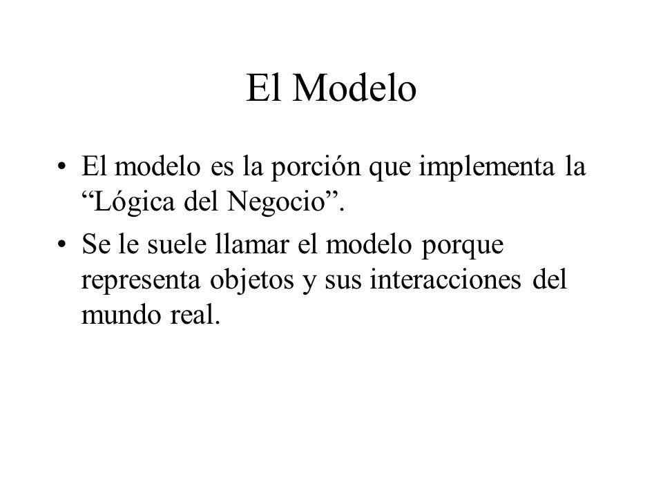 El Modelo El modelo es la porción que implementa la Lógica del Negocio. Se le suele llamar el modelo porque representa objetos y sus interacciones del