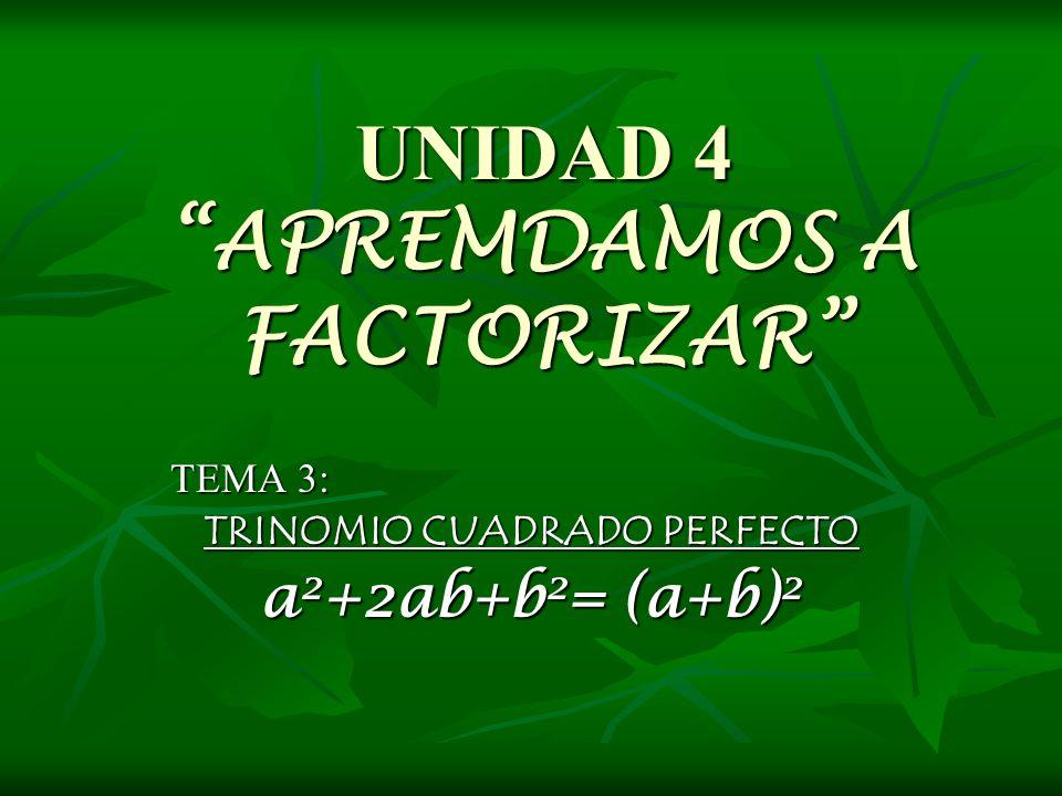 UNIDAD 4 APREMDAMOS A FACTORIZAR TEMA 3: TRINOMIO CUADRADO PERFECTO a 2 +2ab+b 2 = (a+b) 2