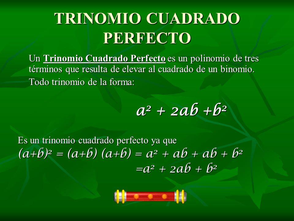 TRINOMIO CUADRADO PERFECTO Un Trinomio Cuadrado Perfecto es un polinomio de tres términos que resulta de elevar al cuadrado de un binomio. Todo trinom