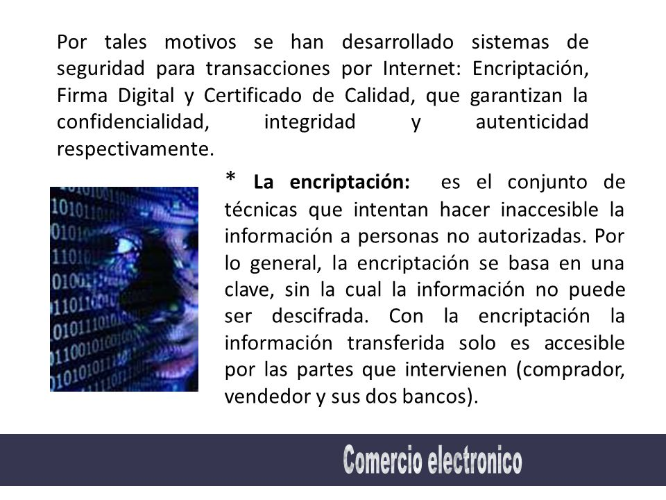 Por tales motivos se han desarrollado sistemas de seguridad para transacciones por Internet: Encriptación, Firma Digital y Certificado de Calidad, que garantizan la confidencialidad, integridad y autenticidad respectivamente.