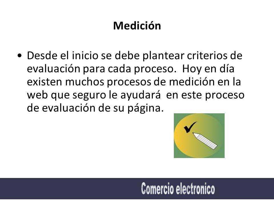 Medición Desde el inicio se debe plantear criterios de evaluación para cada proceso.