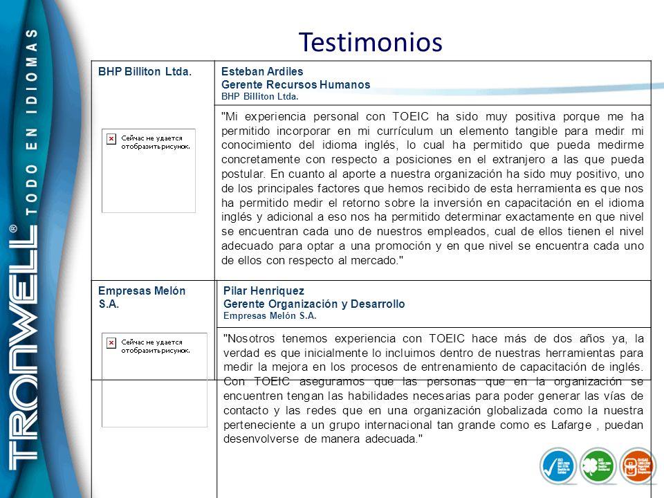 Testimonios BHP Billiton Ltda.Esteban Ardiles Gerente Recursos Humanos BHP Billiton Ltda.