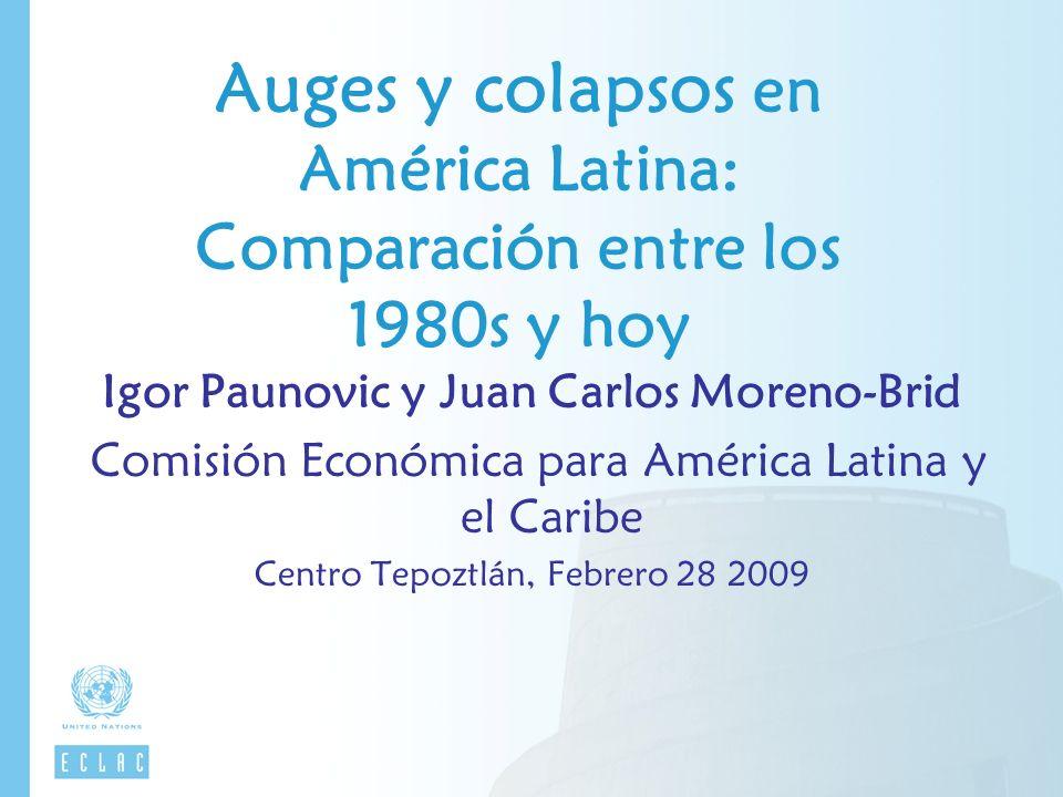 Auges y colapsos en América Latina: Comparación entre los 1980s y hoy Igor Paunovic y Juan Carlos Moreno-Brid Comisión Económica para América Latina y el Caribe Centro Tepoztlán, Febrero 28 2009