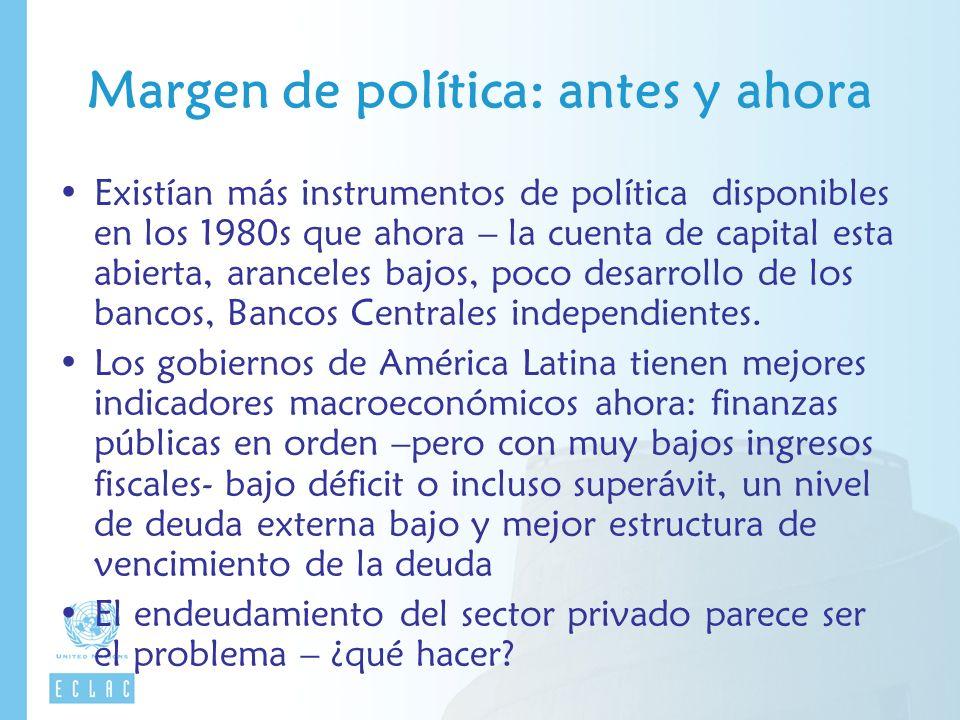 Margen de política: antes y ahora Existían más instrumentos de política disponibles en los 1980s que ahora – la cuenta de capital esta abierta, aranceles bajos, poco desarrollo de los bancos, Bancos Centrales independientes.