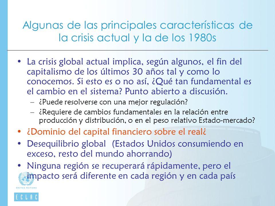 Algunas de las principales características de la crisis actual y la de los 1980s La crisis global actual implica, según algunos, el fin del capitalismo de los últimos 30 años tal y como lo conocemos.
