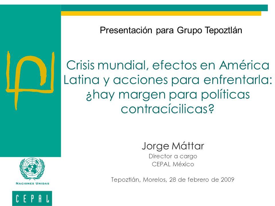 Brasil: Política Anticíclica En diciembre de 2008, el gobierno presentó una serie de medidas para enfrentar las consecuencias adversas sobre la economía de la crisis global.