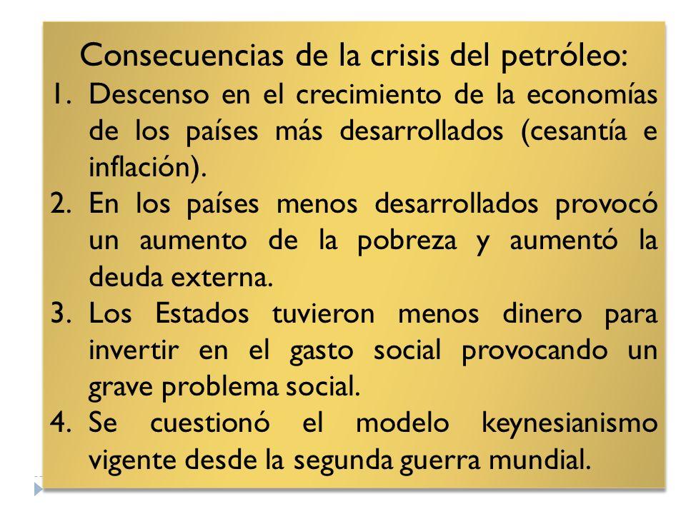 Consecuencias de la crisis del petróleo: 1.Descenso en el crecimiento de la economías de los países más desarrollados (cesantía e inflación). 2.En los