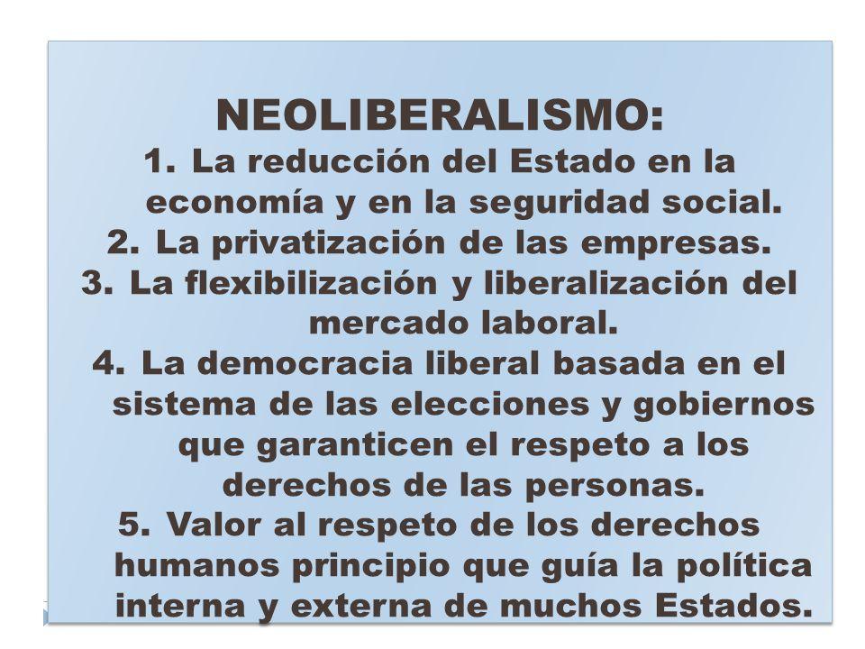 NEOLIBERALISMO: 1.La reducción del Estado en la economía y en la seguridad social. 2.La privatización de las empresas. 3.La flexibilización y liberali