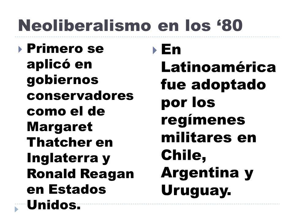 Neoliberalismo en los 80 Primero se aplicó en gobiernos conservadores como el de Margaret Thatcher en Inglaterra y Ronald Reagan en Estados Unidos. En