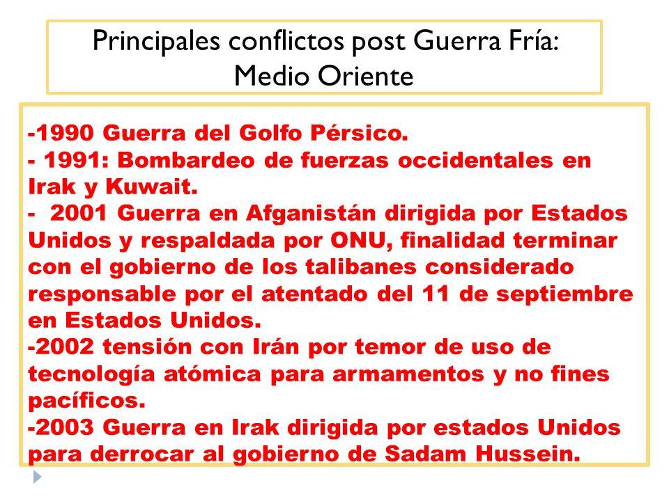 Principales conflictos post Guerra Fría: Medio Oriente -1990 Guerra del Golfo Pérsico. - 1991: Bombardeo de fuerzas occidentales en Irak y Kuwait. - 2
