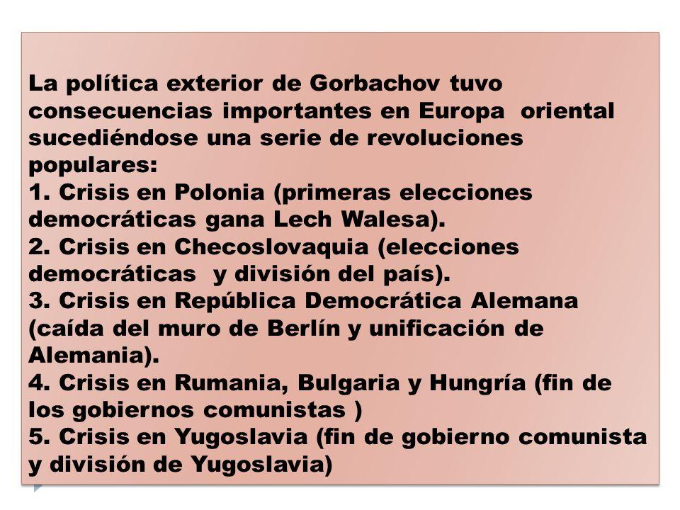 La política exterior de Gorbachov tuvo consecuencias importantes en Europa oriental sucediéndose una serie de revoluciones populares: 1. Crisis en Pol
