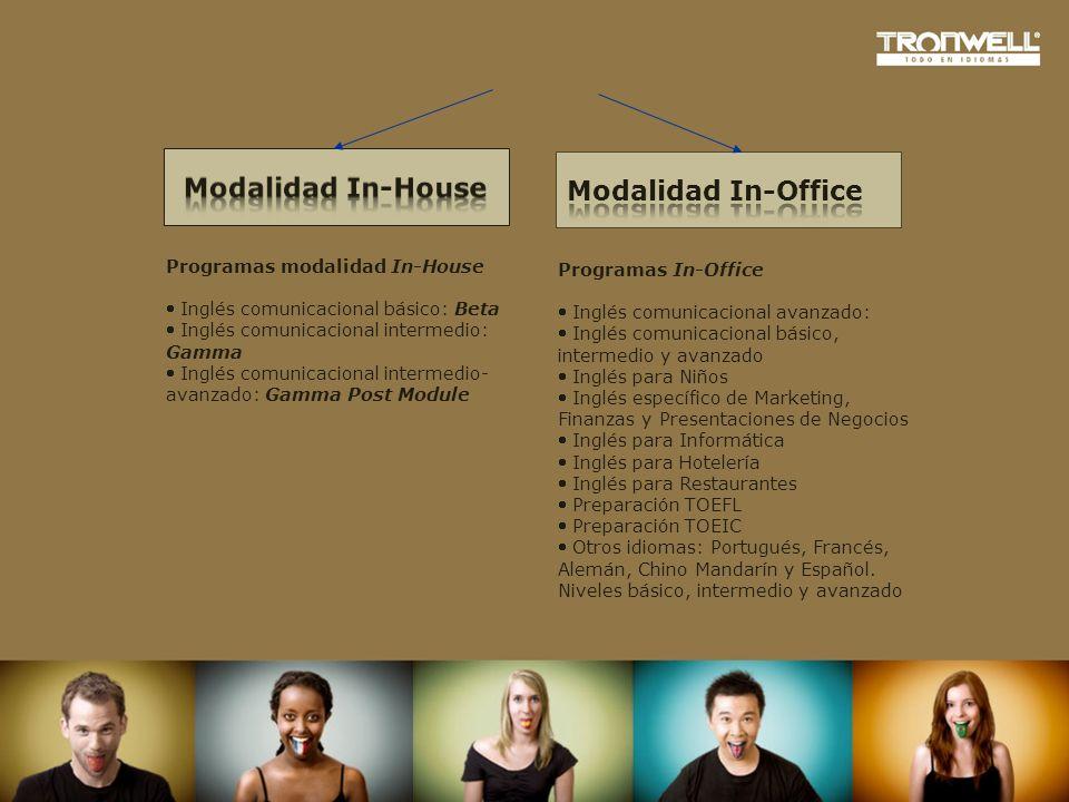 Programas In-Office Inglés comunicacional avanzado: Inglés comunicacional básico, intermedio y avanzado Inglés para Niños Inglés específico de Marketi