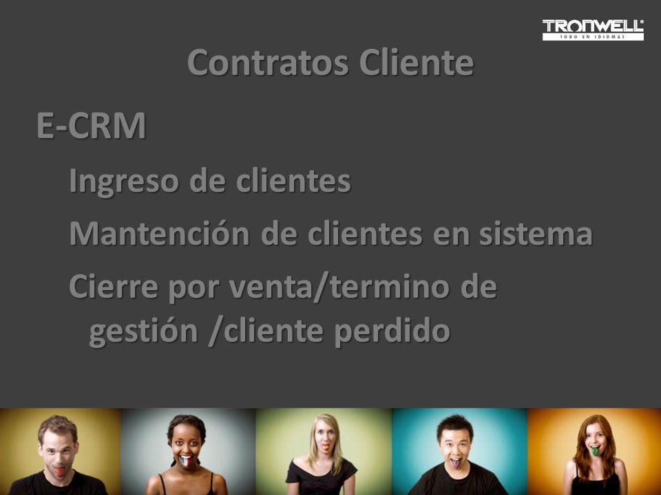 Contratos Cliente E-CRM Ingreso de clientes Mantención de clientes en sistema Cierre por venta/termino de gestión /cliente perdido