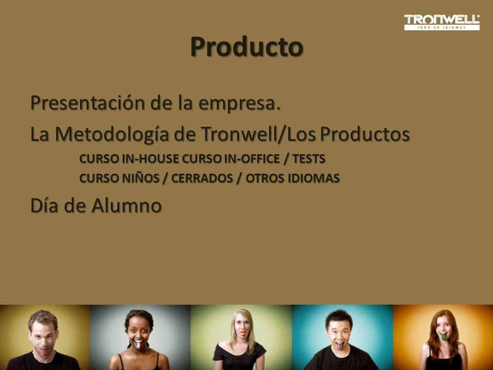 Producto Presentación de la empresa. La Metodología de Tronwell/Los Productos CURSO IN-HOUSE CURSO IN-OFFICE / TESTS CURSO NIÑOS / CERRADOS / OTROS ID