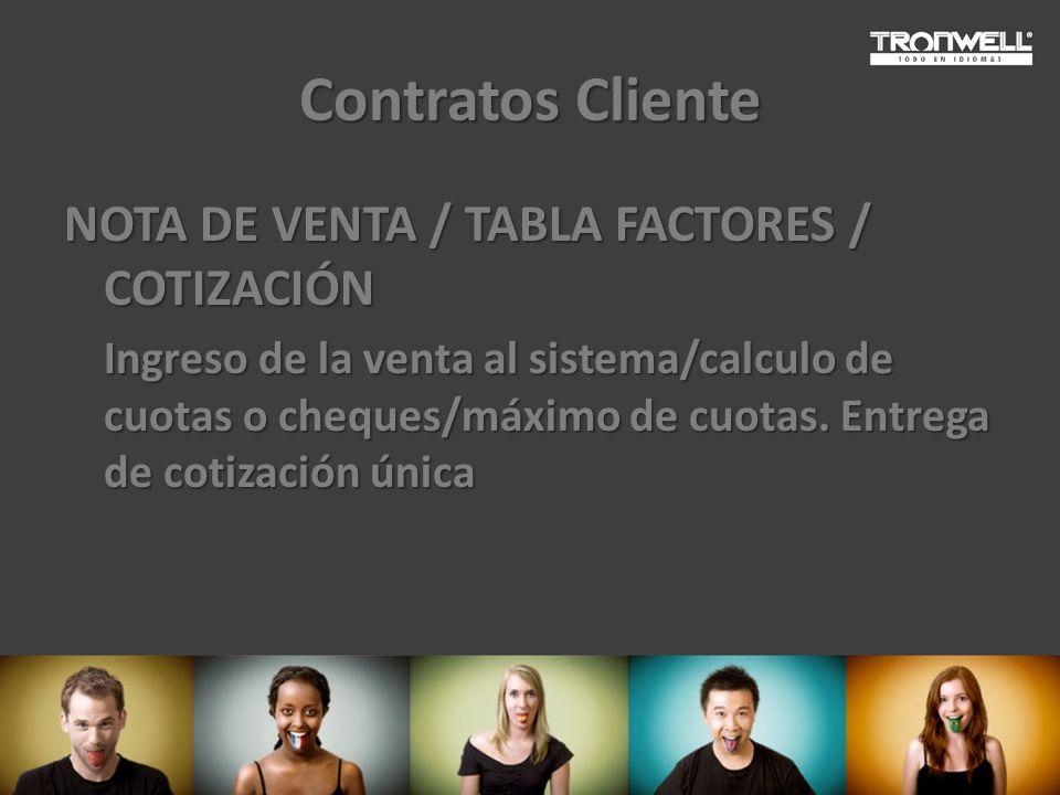 Contratos Cliente NOTA DE VENTA / TABLA FACTORES / COTIZACIÓN Ingreso de la venta al sistema/calculo de cuotas o cheques/máximo de cuotas. Entrega de