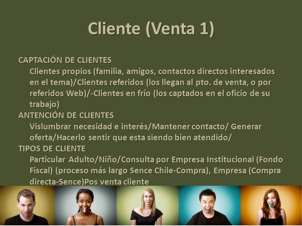 Cliente (Venta 1) CAPTACIÓN DE CLIENTES Clientes propios (familia, amigos, contactos directos interesados en el tema)/Clientes referidos (los llegan a