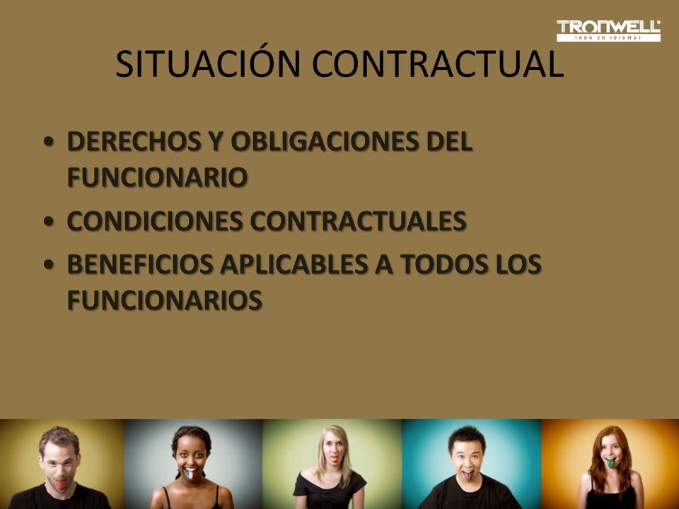 SITUACIÓN CONTRACTUAL DERECHOS Y OBLIGACIONES DEL FUNCIONARIODERECHOS Y OBLIGACIONES DEL FUNCIONARIO CONDICIONES CONTRACTUALESCONDICIONES CONTRACTUALE