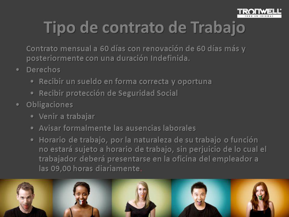 Tipo de contrato de Trabajo Contrato mensual a 60 días con renovación de 60 días más y posteriormente con una duración Indefinida. DerechosDerechos Re