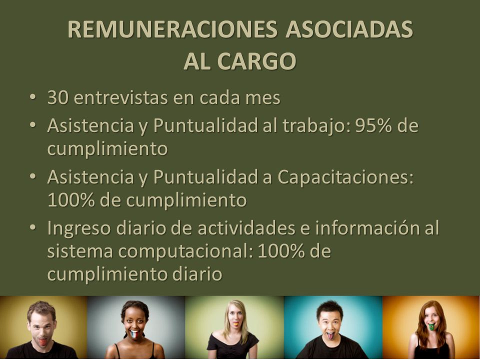 REMUNERACIONES ASOCIADAS AL CARGO 30 entrevistas en cada mes 30 entrevistas en cada mes Asistencia y Puntualidad al trabajo: 95% de cumplimiento Asist