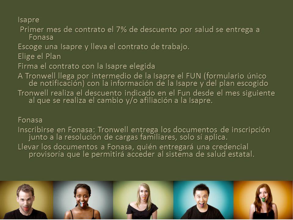 Isapre Primer mes de contrato el 7% de descuento por salud se entrega a Fonasa Primer mes de contrato el 7% de descuento por salud se entrega a Fonasa