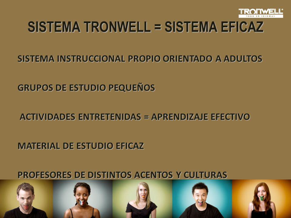 SISTEMA TRONWELL = SISTEMA EFICAZ SISTEMA INSTRUCCIONAL PROPIO ORIENTADO A ADULTOS GRUPOS DE ESTUDIO PEQUEÑOS ACTIVIDADES ENTRETENIDAS = APRENDIZAJE E