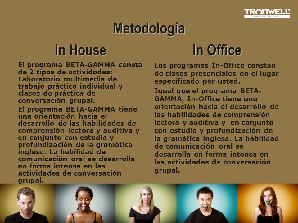 Metodología In House El programa BETA-GAMMA consta de 2 tipos de actividades: Laboratorio multimedia de trabajo práctico individual y clases de prácti