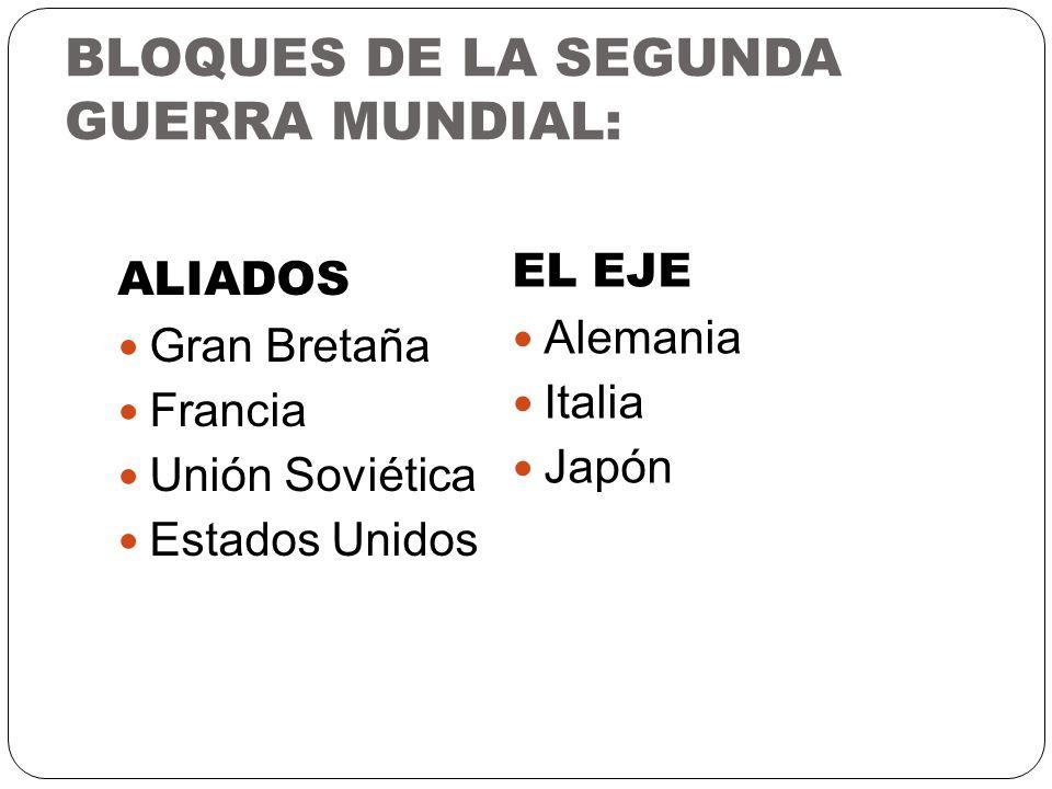 BLOQUES DE LA SEGUNDA GUERRA MUNDIAL: ALIADOS Gran Bretaña Francia Unión Soviética Estados Unidos EL EJE Alemania Italia Japón
