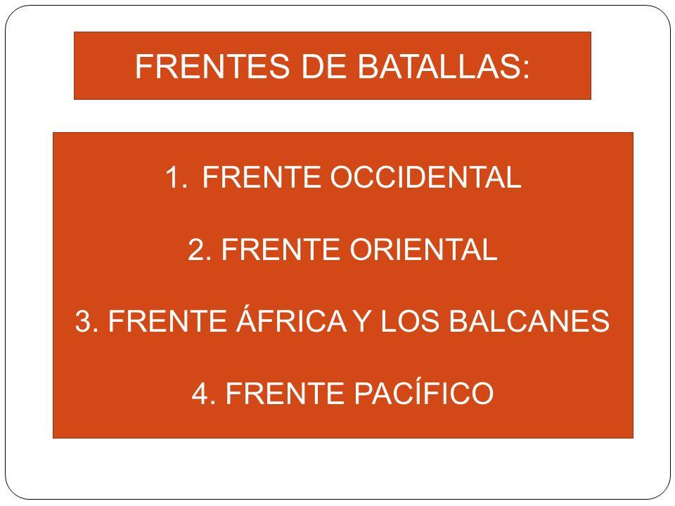 FRENTES DE BATALLAS: 1.FRENTE OCCIDENTAL 2. FRENTE ORIENTAL 3. FRENTE ÁFRICA Y LOS BALCANES 4. FRENTE PACÍFICO