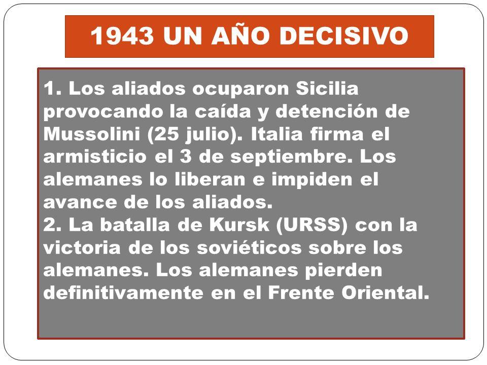 1943 UN AÑO DECISIVO 1. Los aliados ocuparon Sicilia provocando la caída y detención de Mussolini (25 julio). Italia firma el armisticio el 3 de septi