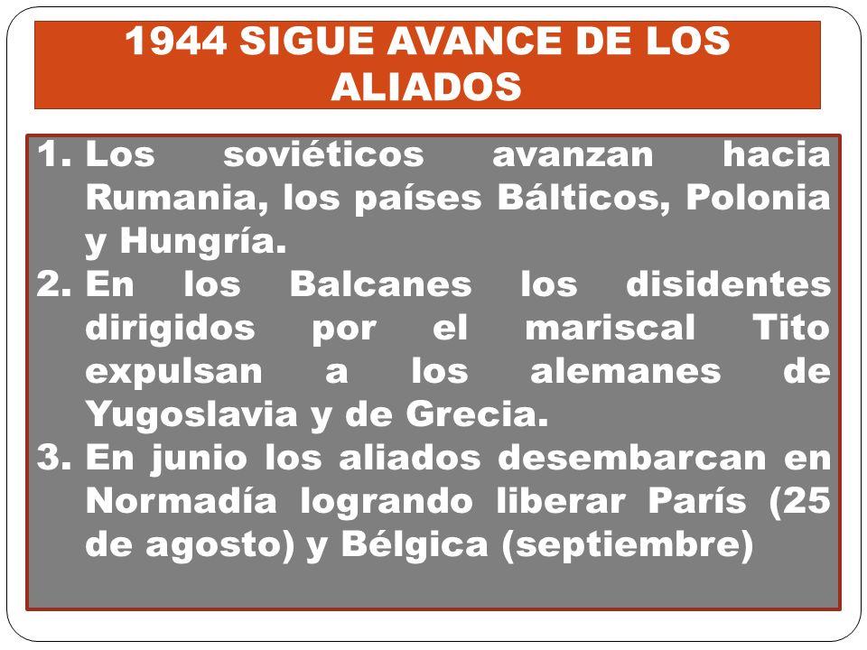 . 1.Los soviéticos avanzan hacia Rumania, los países Bálticos, Polonia y Hungría. 2.En los Balcanes los disidentes dirigidos por el mariscal Tito expu
