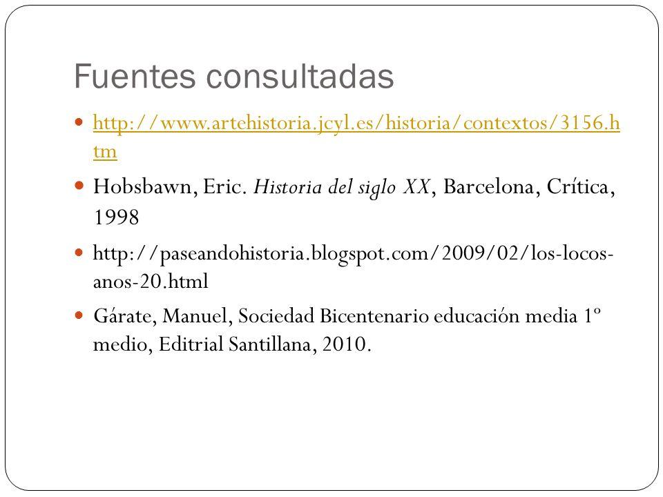 Fuentes consultadas http://www.artehistoria.jcyl.es/historia/contextos/3156.h tm http://www.artehistoria.jcyl.es/historia/contextos/3156.h tm Hobsbawn