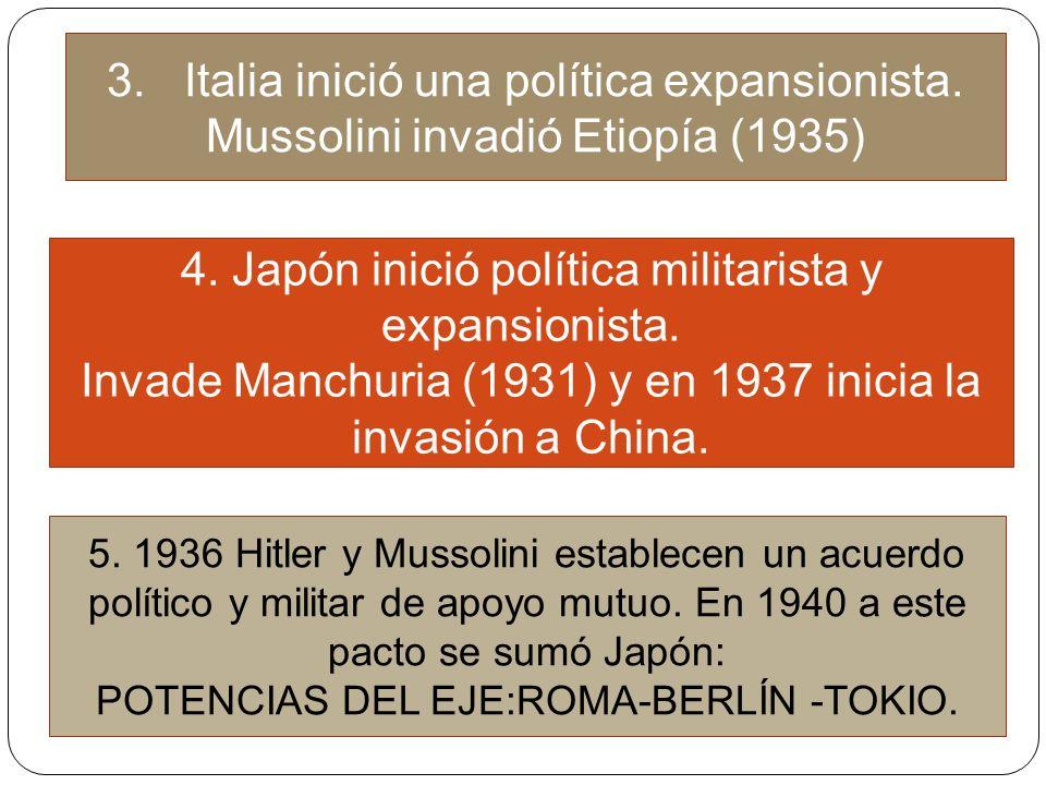3. Italia inició una política expansionista. Mussolini invadió Etiopía (1935) 4. Japón inició política militarista y expansionista. Invade Manchuria (
