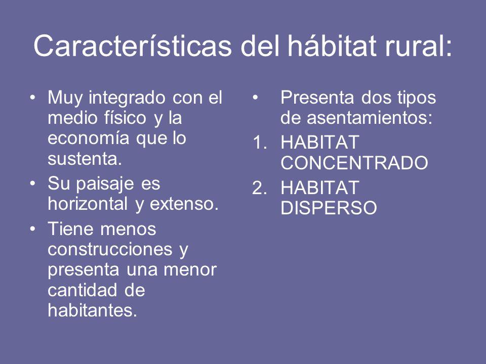 Características del hábitat rural: Muy integrado con el medio físico y la economía que lo sustenta. Su paisaje es horizontal y extenso. Tiene menos co