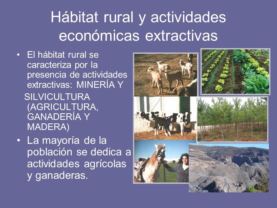 Hábitat rural y actividades económicas extractivas El hábitat rural se caracteriza por la presencia de actividades extractivas: MINERÍA Y SILVICULTURA