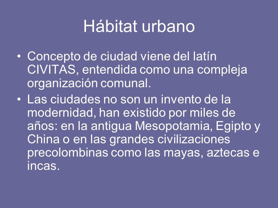 Hábitat urbano Concepto de ciudad viene del latín CIVITAS, entendida como una compleja organización comunal. Las ciudades no son un invento de la mode