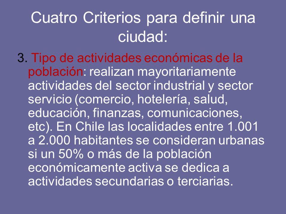 Cuatro Criterios para definir una ciudad: 3. Tipo de actividades económicas de la población: realizan mayoritariamente actividades del sector industri