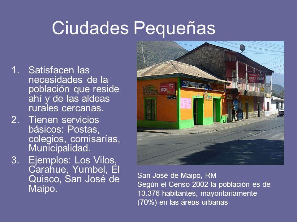 Ciudades Pequeñas 1.Satisfacen las necesidades de la población que reside ahí y de las aldeas rurales cercanas. 2.Tienen servicios básicos: Postas, co