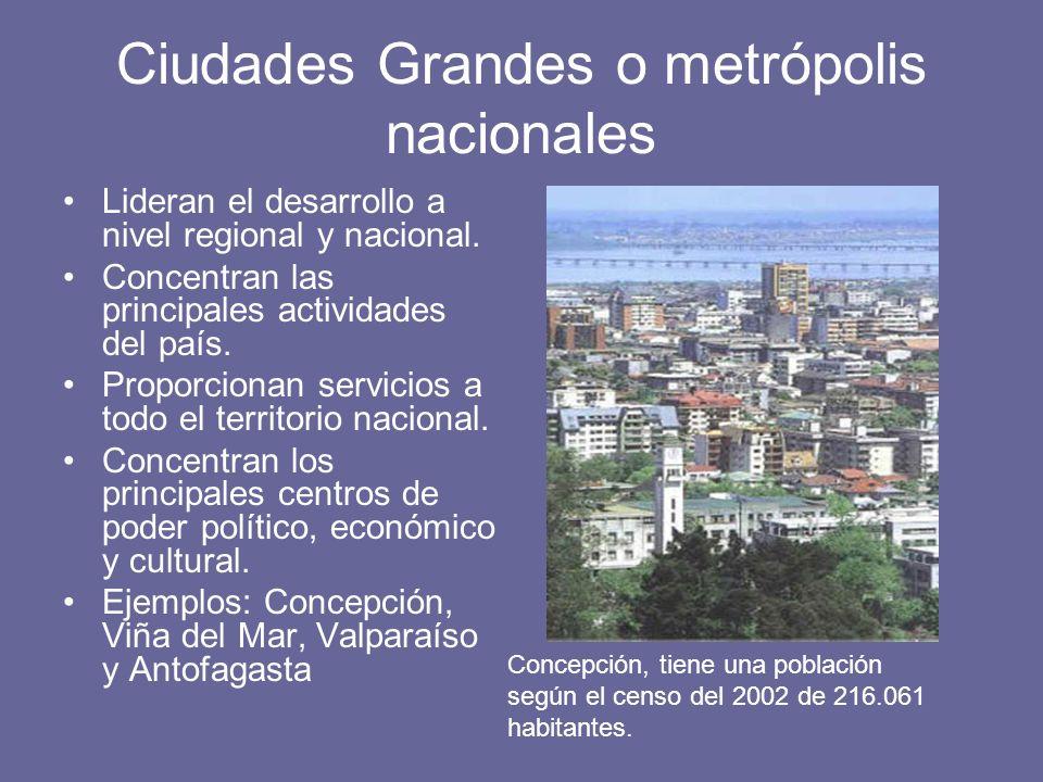 Ciudades Grandes o metrópolis nacionales Lideran el desarrollo a nivel regional y nacional. Concentran las principales actividades del país. Proporcio