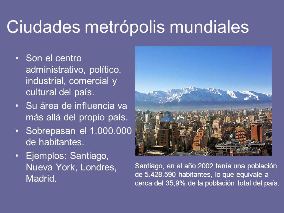 Ciudades metrópolis mundiales Son el centro administrativo, político, industrial, comercial y cultural del país. Su área de influencia va más allá del