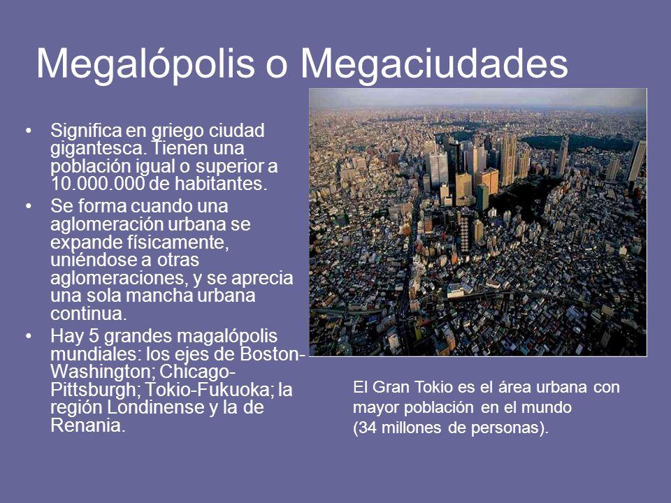 Megalópolis o Megaciudades Significa en griego ciudad gigantesca. Tienen una población igual o superior a 10.000.000 de habitantes. Se forma cuando un