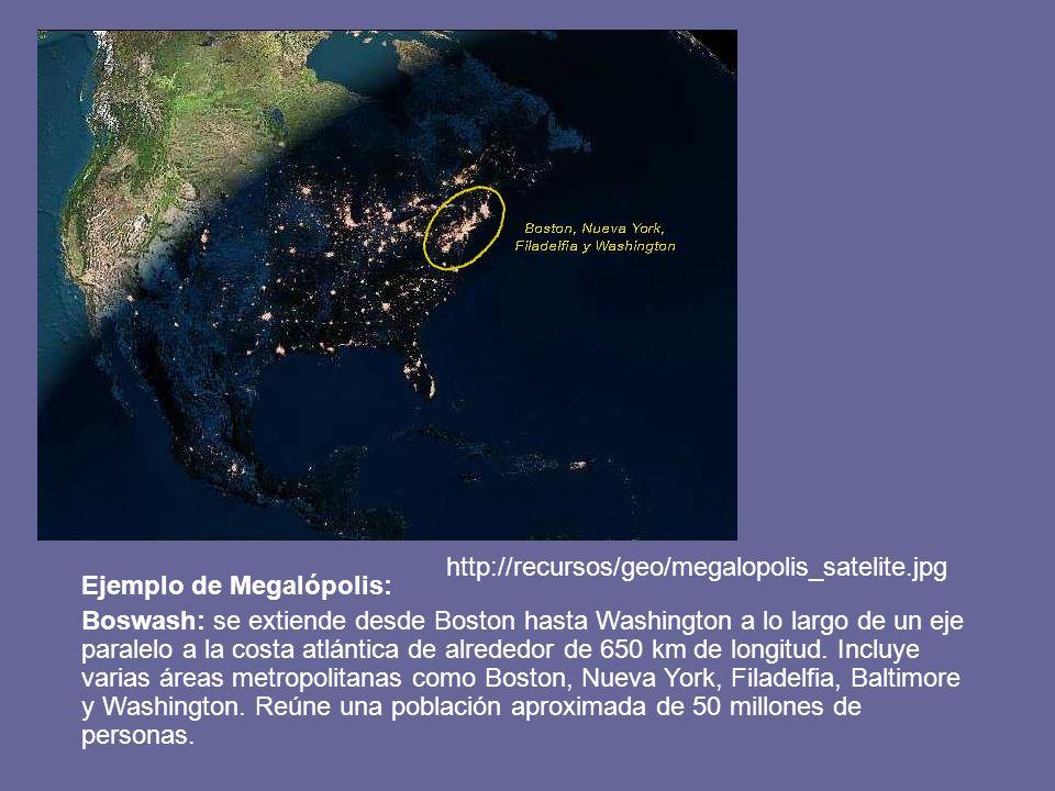 Ejemplo de Megalópolis: Boswash: se extiende desde Boston hasta Washington a lo largo de un eje paralelo a la costa atlántica de alrededor de 650 km d