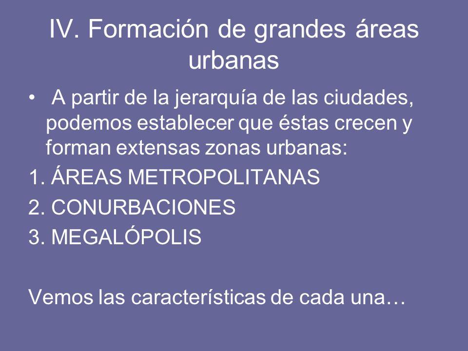 IV. Formación de grandes áreas urbanas A partir de la jerarquía de las ciudades, podemos establecer que éstas crecen y forman extensas zonas urbanas: