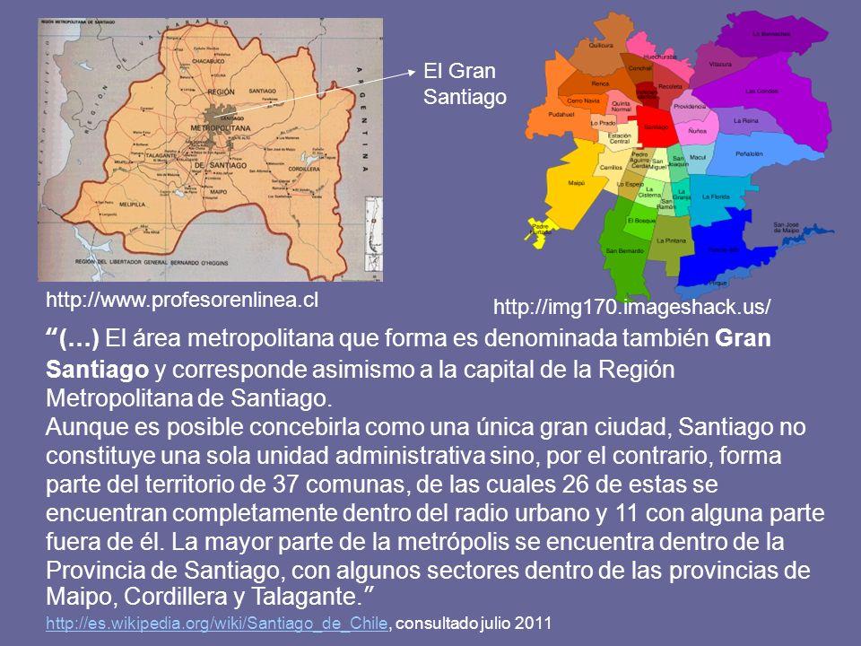 http://www.profesorenlinea.cl (…) El área metropolitana que forma es denominada también Gran Santiago y corresponde asimismo a la capital de la Región