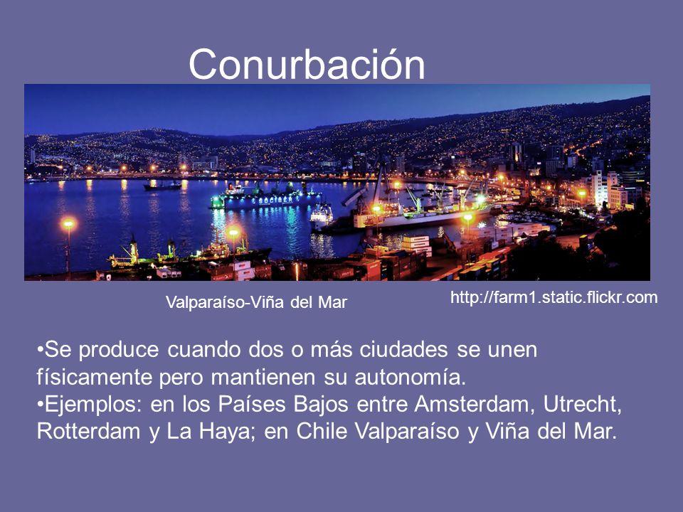 Conurbación Se produce cuando dos o más ciudades se unen físicamente pero mantienen su autonomía. Ejemplos: en los Países Bajos entre Amsterdam, Utrec